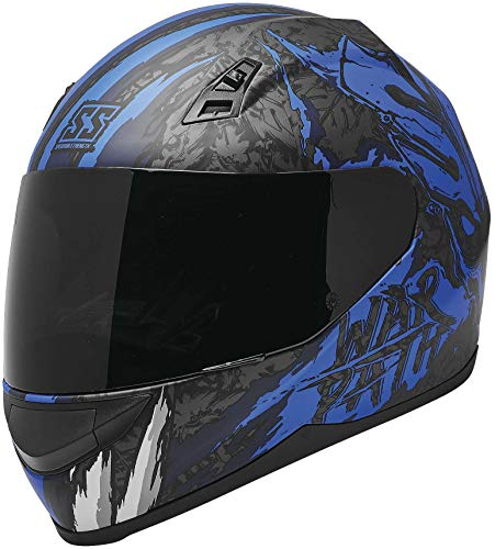 Speed and Strength SS700 War Path Motorcycle Helmet Blue/White/Black MD