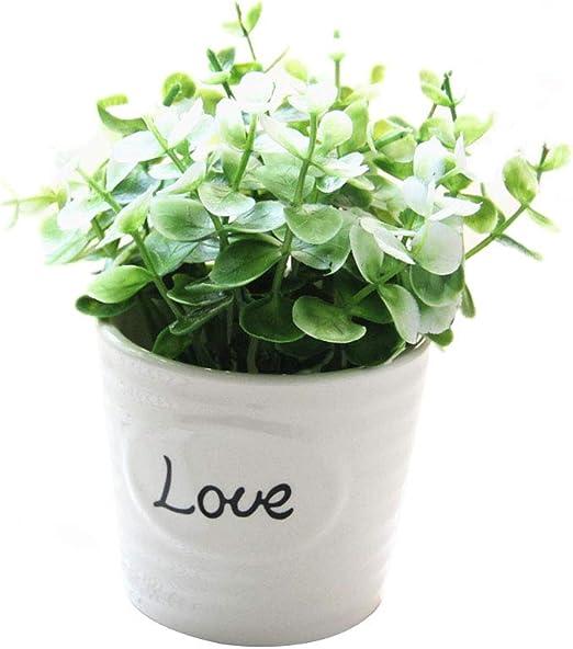 Topxingch - 1 planta artificial en maceta para decoración de jardín, boda, sala de estar, blanco: Amazon.es: Jardín