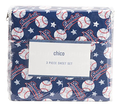 Chico BASEBALL Sheet Set - Full size Stars and baseballs banners Red White Blue 4 Piece Set Polyester Boys Bedding Sports