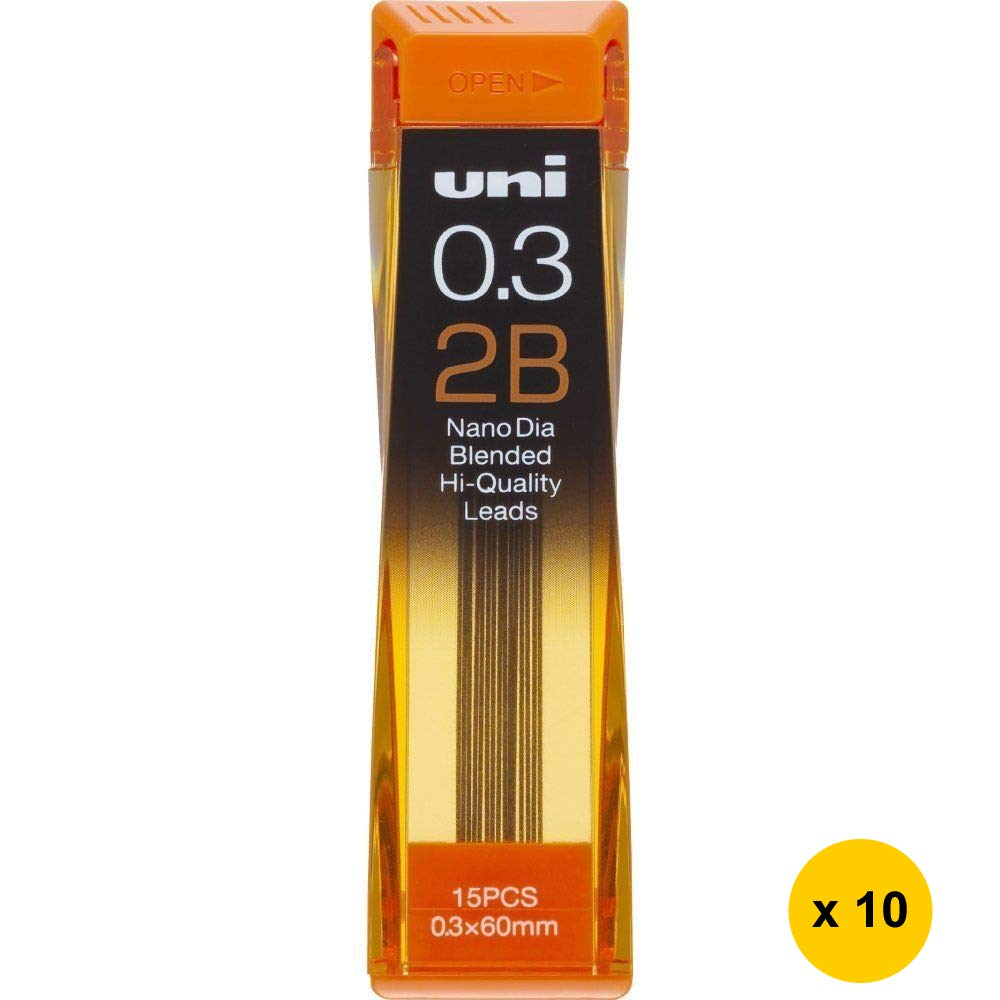Uni Nano Dia UNI0.3-202ND 0.3mm 2B Refill Leads (Pack of 10) (with Free 5-Color Sticky Notes)