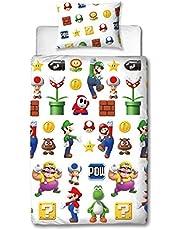 Super Mario Lineup Eenpersoons Dekbedovertrek | Omkeerbare tweezijdige officiële Mario beddengoed dekbedovertrek met bijpassende kussensloop (Eenpersoons)