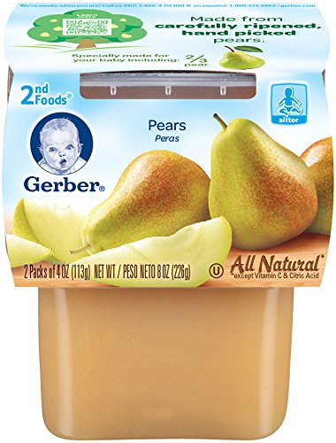 Gerber 2nd Foods Pears, 4 oz Tubs, 2 Count (Pack of 8)