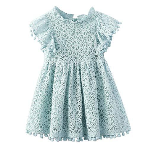 Colorful Childhood Baby Girl Vintage Lace Dress Kids Pom Pom Tassel Frilled Princess Party Dress Blue Size 1-2 Years