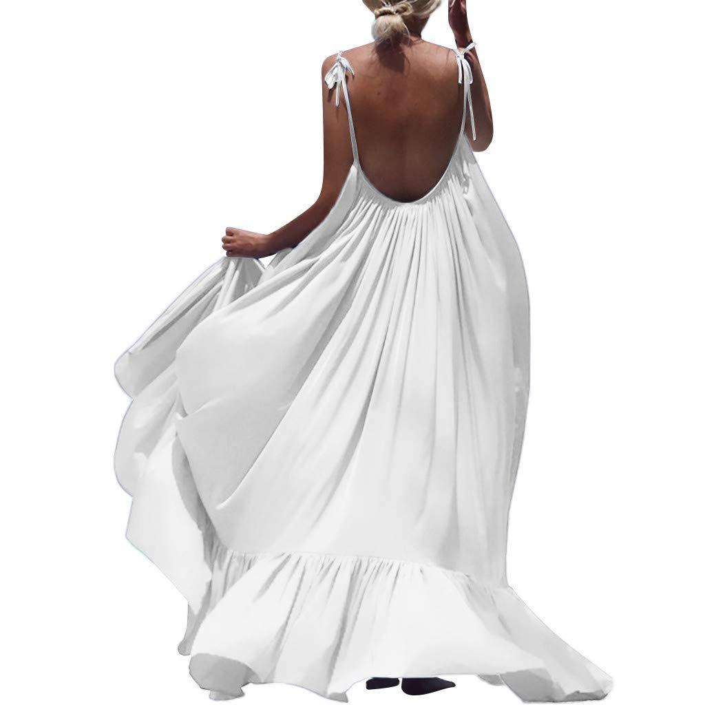 Winsummer Women's Strappy Backless Beach Maxi Dress Evening Party Long Dress Summer Sundress White