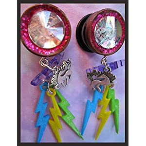 Fantasy Rainbow Unicorn EAR PLUGS dangle earrings pick gauges 2g, 0g, 00g, 7/16″, 1/2″, 9/16″, 5/8″, 11/16″ aka 6, 8, 10, 12, 14, 16, 18mm