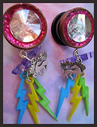 "Fantasy Rainbow Unicorn EAR PLUGS dangle earrings pick gauges 2g, 0g, 00g, 7/16"", 1/2"", 9/16"", 5/8"", 11/16"" aka 6, 8, 10, 12, 14, 16, 18mm 3"