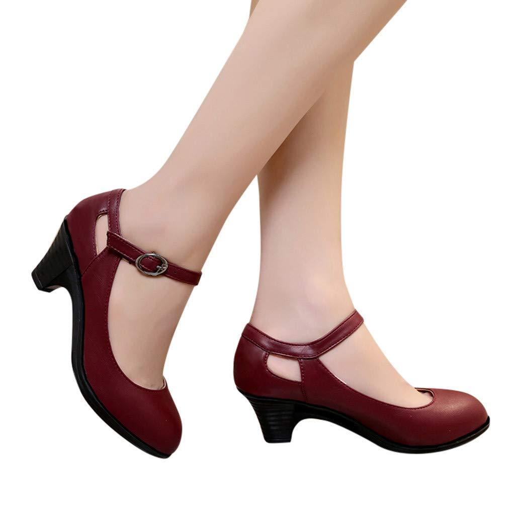 Seaintheson Square Heel Shoes for Women, Women's Fashion Solid Round Toe Buckle Single Shoes Wedding Bride Shoes Dress Pumps Women' s Fashion Solid Round Toe Buckle Single Shoes Wedding Bride Shoes Dress Pumps