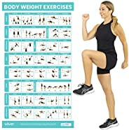 Vive Body Weight Workout Poster - Bodyweight Exercises For Home Gym - Laminated Hitt Chart For Abs, Glute, Cor