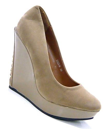 Schuh-City High Heel Fetisch Keil-Absatz Korsagen Pumps Schuhe