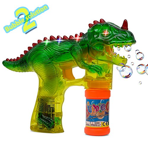 Kidsthrill T-Rex Dinosaur Bubble Shooter Gun with Sounds and Music - 2 Bubble Solution Included - Assorted Colors]()