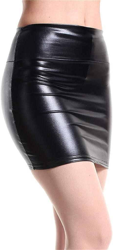 NAVARCH Minifalda Plisada Sexy Club Mujeres Cómodas Muslo-Alto Medias de Cuero Moños -Wetlook Mirada mojada Minifalda Mujer Wet Look Clubwear