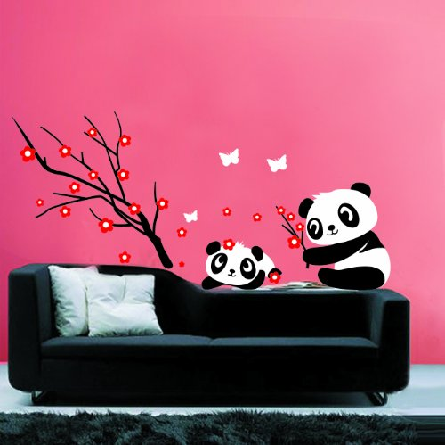 Modern House Panda and Red Cherry Blossom Vinyl Mural Art Wall Sticker Decal (Cherry Blossoms Against Red Background)