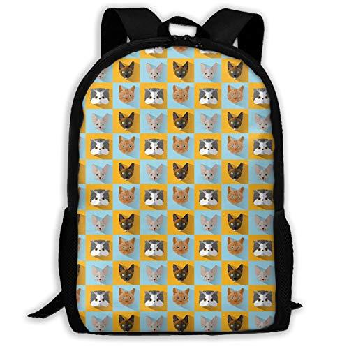 (Twinkprint 3D Print Unisex Backpack - Cute Cats Face Seamless Collection Lightweight Laptop Bags - Fashion Shoulder Bag School Bookbag Daypacks)