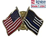 Thin Blue Crossed with American Flag Lapel Pin, Made in USA