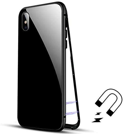 the best attitude 01fd2 b0ef8 Amazon.com: Luxury Magnetic Adsorption Metal Case for iPhone X ...