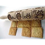 TOTORO rolling pin. Wooden embossing rolling pin with Totoro pattern.