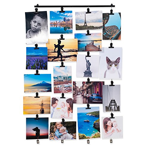Hanging Picture Display Photo Holder with 4 Metal Cable Strings and 20 Magnetic Clips Metal Black ()
