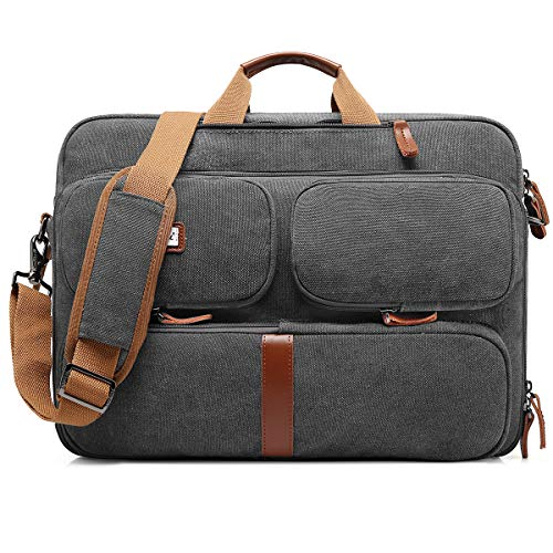 CoolBELL Convertible Laptop Bag Backpack Messenger Bag Shoulder Bag Business Briefcase Multi-Functional Travel Rucksack 17.3 Inches Laptop Case for Men/Women (Canvas Dark Grey) by CoolBELL