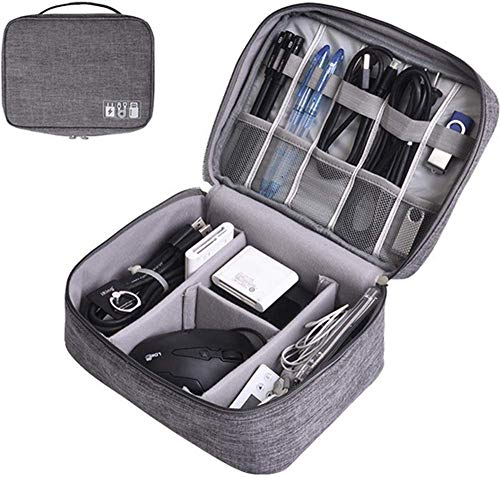 Tedemel (Grey) Travel Electronic Accessories Organizer Bag Case for Cable Charger