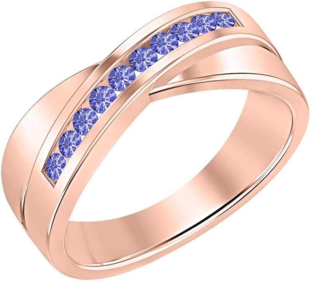 SVC-JEWELS 14K Rose Gold Over 925 Sterling Silver Round Cut Blue Tanzanite Criss Cross X Wedding Band Ring Men