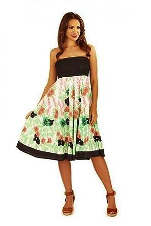 4989adbc18ed Black White Green & Coral Floral Print Summer Beach Sun Dress Midi Maxi  Skirt (10