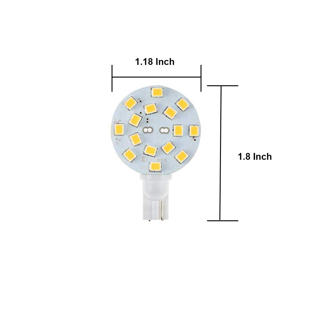 Makergroup T10 921 Wedge Base LED Bulbs for RV Dome Lights in Camper Trailer Marine Boat Replacement LED Bulbs 10-30V Disc 3W Natural White 6-Pack Maker Group
