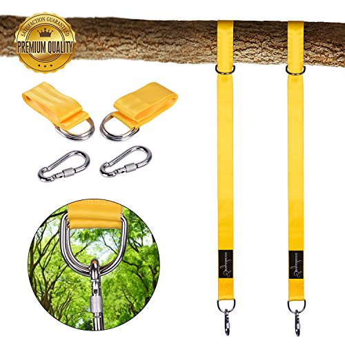 Sonyabecca Tree Swing Hanging Kit Hold 2800lbs Hammocks Strap Two 5ft Straps 2 Strap Carabiner Hooks