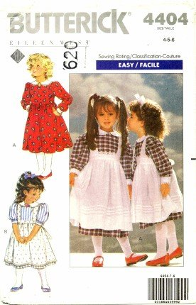 - Butterick 4404 Sewing Pattern Girls Dress and Pinafore Size 4 - 5 - 6