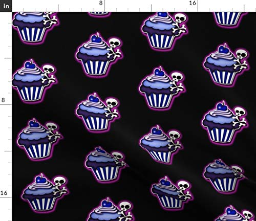 Spoonflower Skulls Fabric - Cakes Cupcakes Dessert Yummy Halloween Bones Cherries Sf926hal13 Print on Fabric by The Yard - Velvet for Upholstery Home Decor Bottomweight Apparel]()