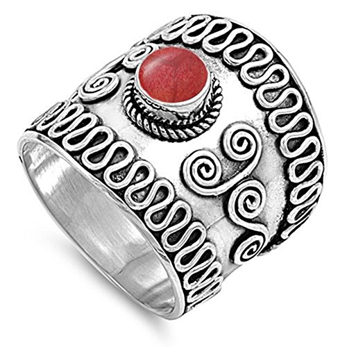 Wide Bali Simulated Coral Unique Ring New .925 Sterling Silver Swirl Wave Band Size 6