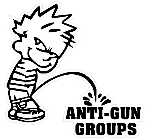 1 Pcs Magnificent Modern Boy Peeing Piss Anti-Gun Groups Stickers Signs Firearm 24Hr Protected Military Size 5