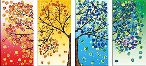 Starlit DIY 3D Diamond Painting Rhinestone Embroidery Kit Mosaic Painting Size 168x75cm/66x30inch (71536 Seasonal Trees (4 Pics))