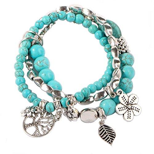 YinMai Bohemian Turquoise Beaded Bracelet Tree of Life Pendant Beach Stretch Bracelet 3 Sets