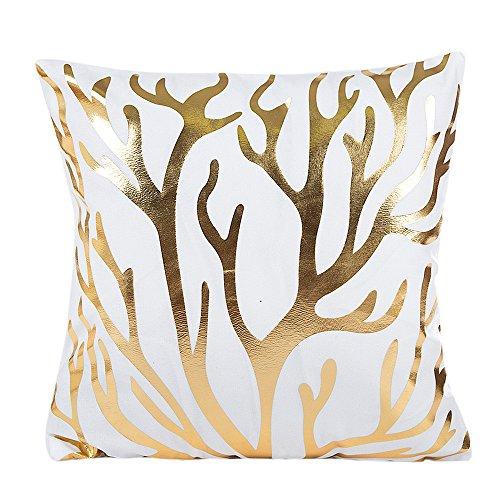 GOVOW Home Decor Gifts Gold Foil Printing Pillow Case Sofa Waist Throw Cushion Cover - Euro Plaid Pad