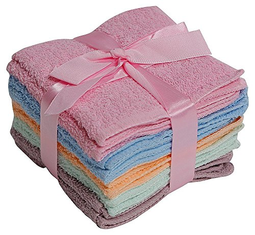 100% Cotton WASHCLOTHS, 10pc Set, Colors may Vary by Elaine Karen