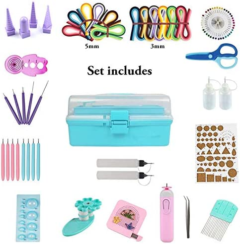 Blue Box Quilling Tools,Paper Quilling Kit with Storage Box Quilling Kit