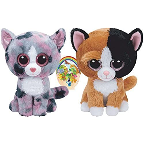 Ty Beanie Boos Cats Friends Tauri and Linda Gift set of 2 Plush Toys 6-8 inches tall with Bonus Animals Sticker