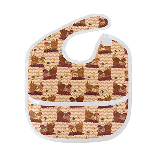 (Humphy Albe Vintage Hen and Cute Chick Baby Bib, Waterproof, Washable, Stain and Odor Resistant, 6-24 Months, Unisex)
