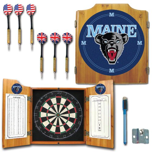 NCAA University of Maine Wood Dart Cabinet Set