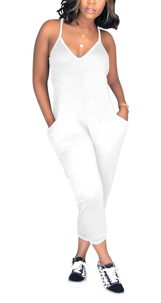 Voghtic Women Sexy V Neck Harem Jumpsuit Sleeveless Spaghetti Strap Jumpsuits Rompers with Pockets Plus Size S-3XL