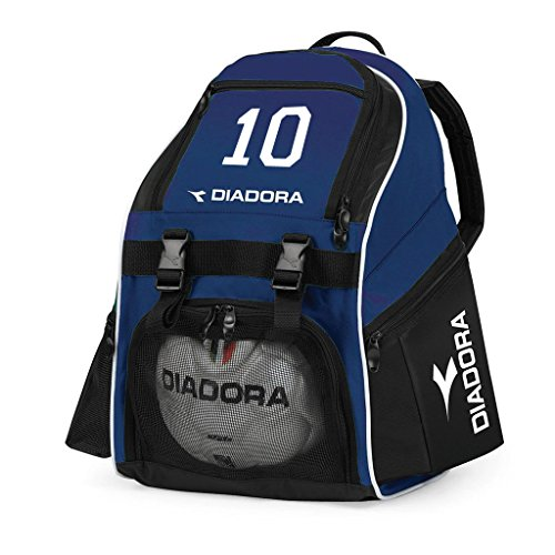 Diadora Squadra soccer backpack customized with number - color navy