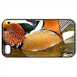 Mandarin Drake - Case Cover for iPhone 4 and 4s (Birds Series, Watercolor style, Black)