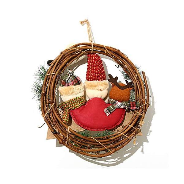 XONOR Corona di Natale per Porta d'ingresso, ghirlande Porta 35cm Natale Decorazione della Porta della casa Porta d'auto (Reindeer Snowman Santa Claus) 3 spesavip