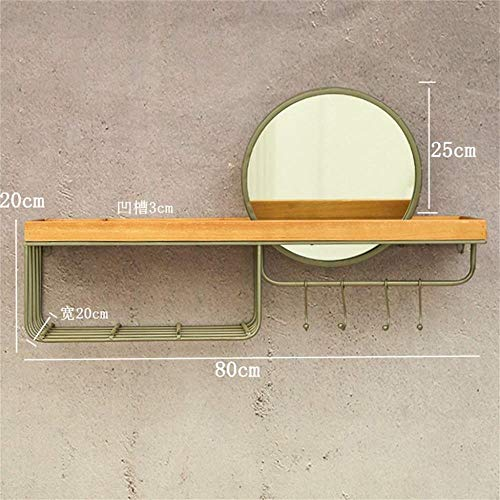 Gflyme Makeup Mirrors Round Wall Bathroom Mirror Hanging Mirror with Shelving and - Mirrors Beveled Plane Bathroom Edge