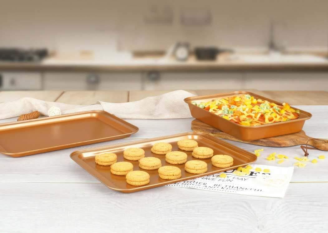 CopperKitchen Baking Pans - 3 pcs Toxic Free NONSTICK - Organic Environmental Friendly Premium Coating - Durable Quality - Rectangle Pan, Cookie Sheet - BAKEWARE SET (3) by CopperKitchenUSA (Image #3)
