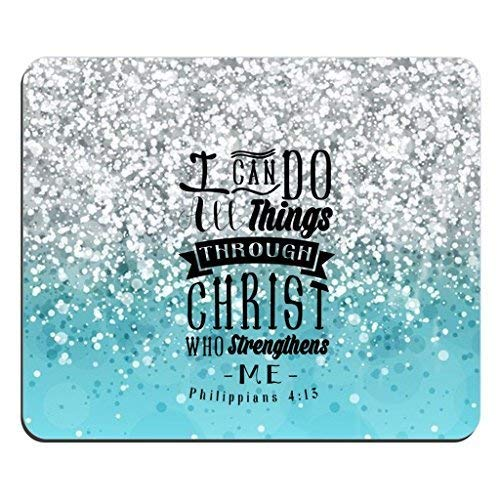 Bible Verse Blue Sparkles Glitter Pattern Rectangle Mouse Pad Christian Quotes I can Do All Things Through Christ Who Strengthens Me Philippians 4:13