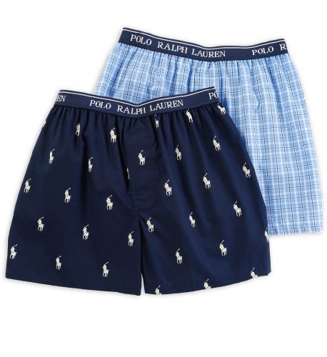 (Polo Ralph Lauren Kids/Boys 2 Pack Woven Boxers (X-Small, Cannes Plaid/Cruise Navy))