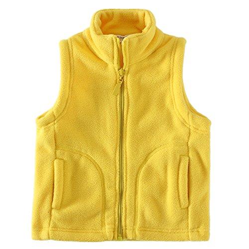 LittleSpring Little Boys' Vests Zipper Pocket Size 6 US Yellow