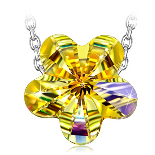 ng Silver♥ Chain with Swarovski Crystals Rainbow Flower Aurora Borealis Pendant Necklace, Perfect Mothers Day Gifts for Mom (Aurora Borealis Flower)