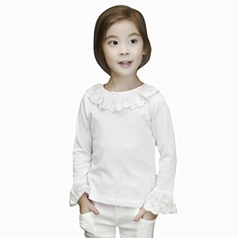 Amlaiworld Bebé Niñas Moda casual Volantes Camisetas Tapas Blusa Ropa (5-6 Años,